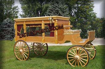 Golden Funeral Horse Carriages