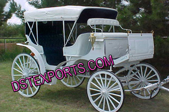 Wedding White Covered Horse Carriages