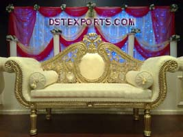 Asian Wedding Golden Metal Love Seaters