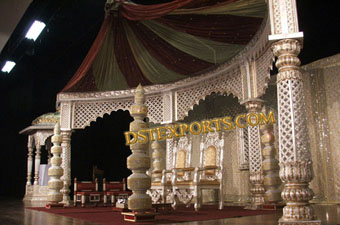 Indian Wedding Silver Golden Stage Set