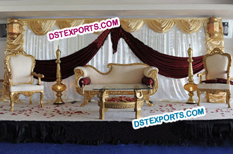 Latest Asian Wedding Golden Furniture Stage Set