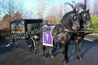 Blackish Funeral Horse Drawn Carriages
