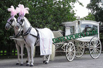 Wedding White Funeral Horse Carriage