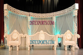 Asian Wedding White Carved Stage Set