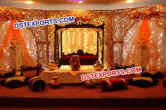 Asian Wedding Carved Stage With Swing Set