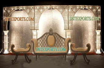 Asian Wedding Lighted Crystal Backdrop Stage