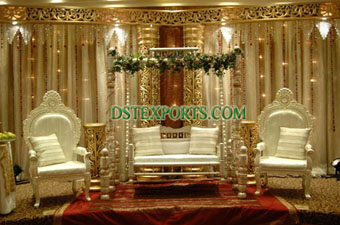 Asian Wedding Pearl Gold Stage Set