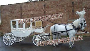 Royal White Covered Horse Drawn Carriage
