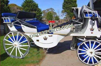 White Blue Victoria Horse Drawn Carriage
