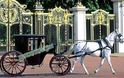 COVERED BLACK  HORSE  DRAWN CARRIAGE