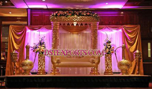 LATEST ASIAN WEDDING GOLD STAGE SET