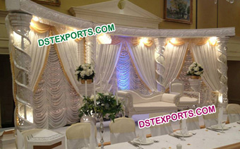 Asian Wedding Silver Fiber Crystal Stage