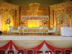 ASIAN WEDDING STAGE WITH GOLDEN CARVED BACKDROP