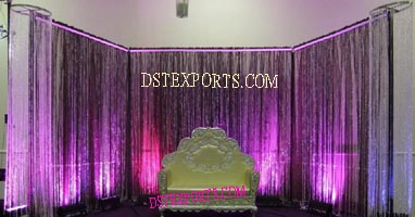 WEDDING STYLISH SOFA WITH CRYSTAL BACKDROP