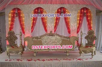 Royal Asian Wedding Wooden Sofa Set