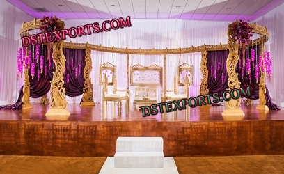 INDIAN WEDDING WOODEN CARVED PEACOCK MANDAP