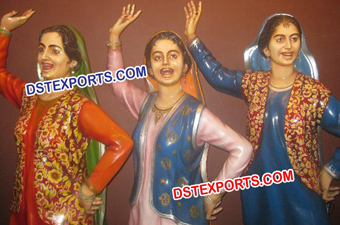 Punjabi Ladies Dancing In Gidha Fiber Statue