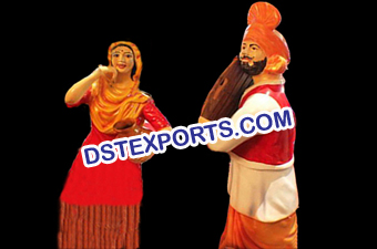 Punjabi Dancing Couple Statues