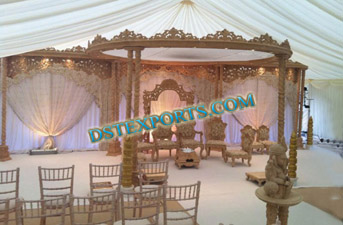 WEDDING WOODEN DOUBLE PILLAR MANDAPS