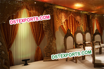 Indian Wedding Wooden Carved Pillar Stages