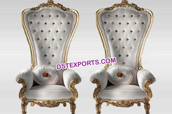 Wedding Royal Queen Throne High Chairs Set