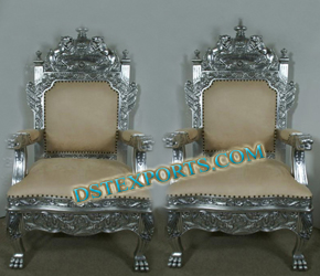 WEDDING ANTIQUE SILVER CHAIR SET