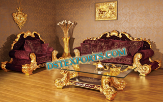 MAHROON HAND CARVED ROYAL SOFA SET