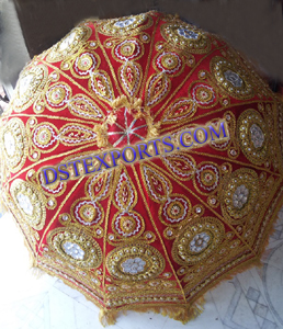 WEDDING EMBROIDED REDISH GOLDEN EUMBRELLA