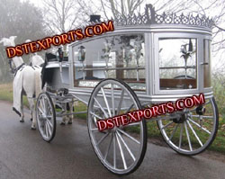 ENGLISH FUNERAL WHITE CARRIAGE