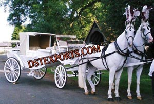 White  Double Horse Carriage