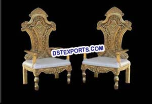 Wedding Wooden Carved Designer Chairs