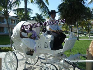 Latest White Two Seater Horse Carriage
