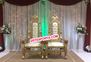 Wedding Golden Bride Groom Chairs