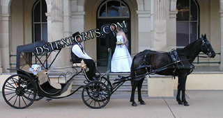 New Black Two Seater Horse Carriage