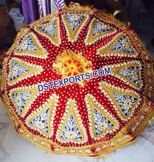 Wedding Red Gold Embrodried Umbrella Chatar