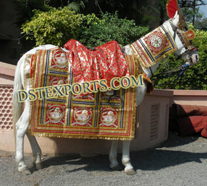 Indian Wedding Red Golden Ghodi Costume