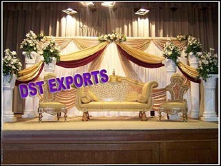 Wedding Reception Stage With Carved Furnitures