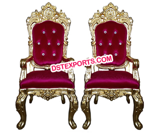 Designer Gold Metal Bride Groom Chairs for sale