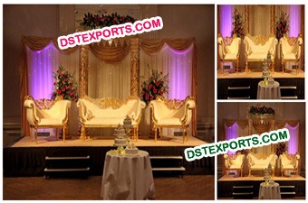 Muslim Wedding Golden Carved Stage Decors