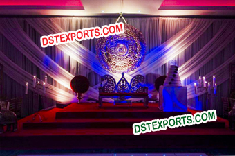 Rajasthani Stage With Round Backdrop Panel