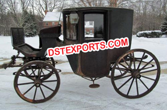 Wedding Black Covered Horse Drawn Carriage