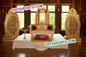 Wedding Golden Oval Panels Stage