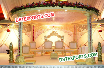 Simple Handcarved Double Wooden Pillar Mandap