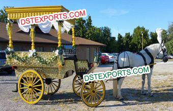Golden Horse Drawn Wedding Wagon