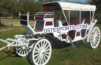 White Limousine Long Horse Drawn Carriage