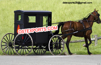 Black Covered Horse Drawn Buggy