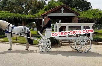 White Funeral Horse Carriages Buggy