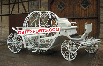 Beautiful White Cinderella Horse Carriages