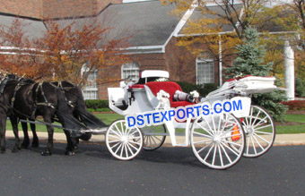 White Wedding Victoria Horse Buggy