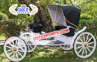 Black Two Seater Mini Horse Carriage
